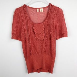 Anthropologie | Moth Coral Short Sleeve Knit Top